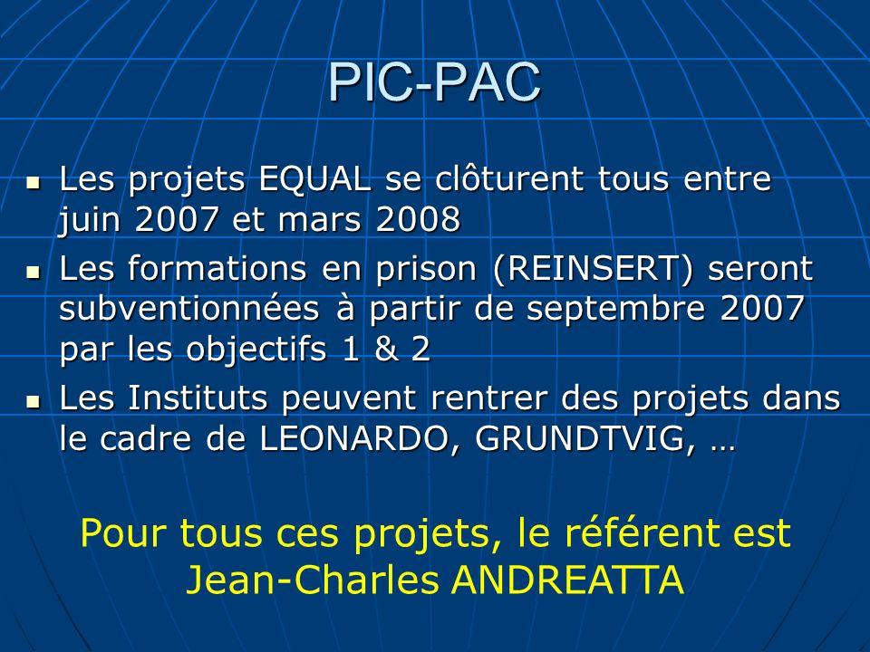 PIC-PAC Les projets EQUAL se clôturent tous entre juin 2007 et mars 2008 Les projets EQUAL se clôturent tous entre juin 2007 et mars 2008 Les formatio