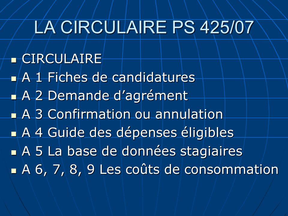 LA CIRCULAIRE PS 425/07 CIRCULAIRE CIRCULAIRE A 1 Fiches de candidatures A 1 Fiches de candidatures A 2 Demande dagrément A 2 Demande dagrément A 3 Co