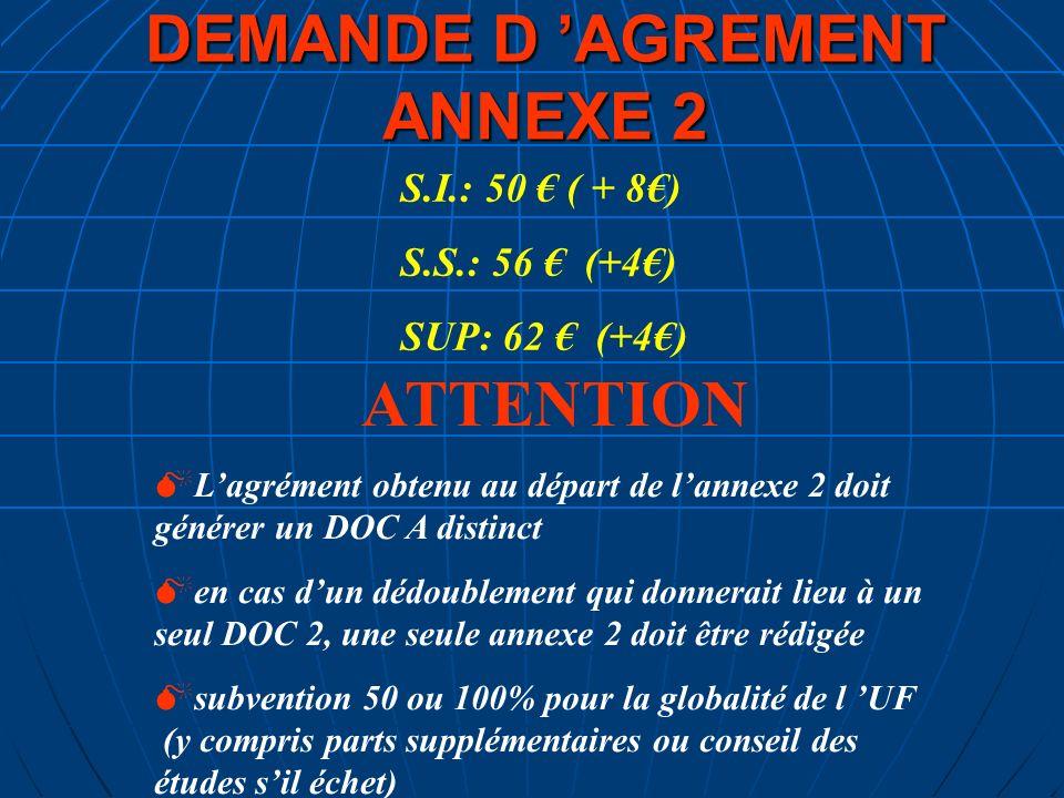 DEMANDE D AGREMENT ANNEXE 2 S.I.: 50 ( + 8) S.S.: 56 (+4) SUP: 62 (+4) ATTENTION Lagrément obtenu au départ de lannexe 2 doit générer un DOC A distinc