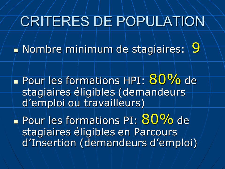CRITERES DE POPULATION Nombre minimum de stagiaires: 9 Nombre minimum de stagiaires: 9 Pour les formations HPI: 80% de stagiaires éligibles (demandeur