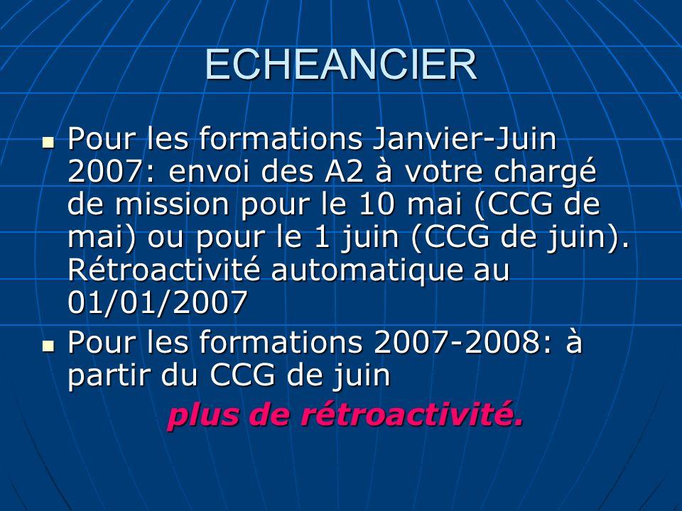 ECHEANCIER Pour les formations Janvier-Juin 2007: envoi des A2 à votre chargé de mission pour le 10 mai (CCG de mai) ou pour le 1 juin (CCG de juin).