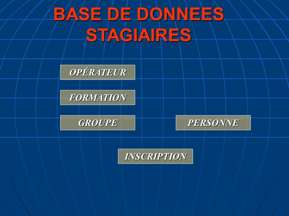 BASE DE DONNEES STAGIAIRES PERSONNE OPÉRATEUR FORMATION GROUPE INSCRIPTION