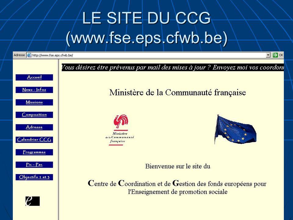 LE SITE DU CCG (www.fse.eps.cfwb.be)
