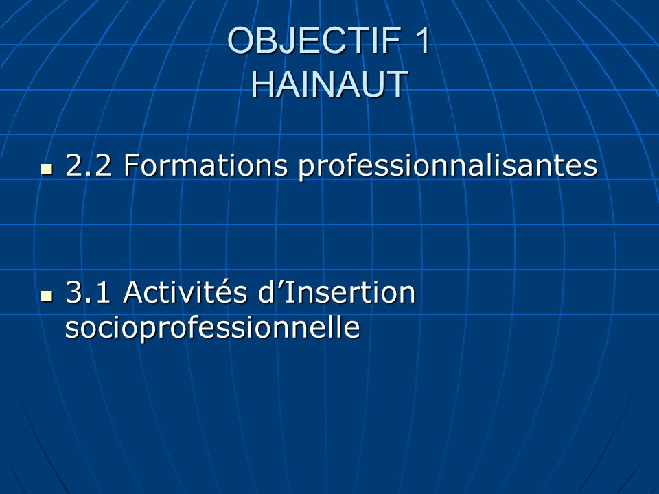 OBJECTIF 1 HAINAUT 2.2 Formations professionnalisantes 2.2 Formations professionnalisantes 3.1 Activités dInsertion socioprofessionnelle 3.1 Activités