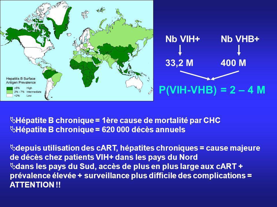 Nb VIH+Nb VHB+ 33,2 M400 M P(VIH-VHB) = 2 – 4 M Hépatite B chronique = 1ère cause de mortalité par CHC Hépatite B chronique = 620 000 décès annuels de