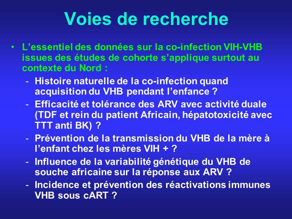 Voies de recherche Lessentiel des données sur la co-infection VIH-VHB issues des études de cohorte sapplique surtout au contexte du Nord : -Histoire n