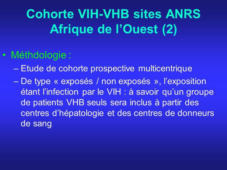 Cohorte VIH-VHB sites ANRS Afrique de lOuest (2) Méthdologie : –Etude de cohorte prospective multicentrique –De type « exposés / non exposés », lexposition étant linfection par le VIH : à savoir quun groupe de patients VHB seuls sera inclus à partir des centres dhépatologie et des centres de donneurs de sang