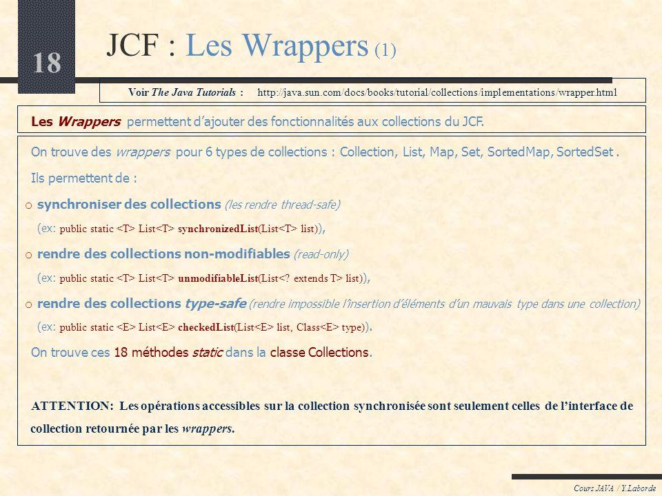 18 JCF : Les Wrappers (1) Cours JAVA / Y.Laborde Les Wrappers permettent dajouter des fonctionnalités aux collections du JCF. On trouve des wrappers p