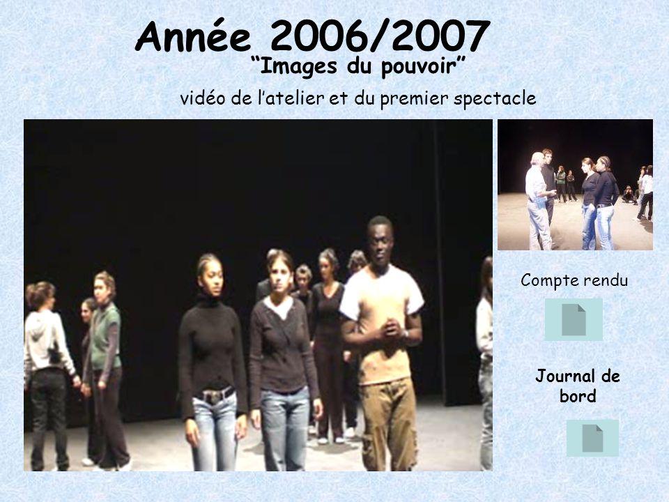 Année 2006/2007 Images du pouvoir vidéo de latelier et du premier spectacle Compte rendu Journal de bord