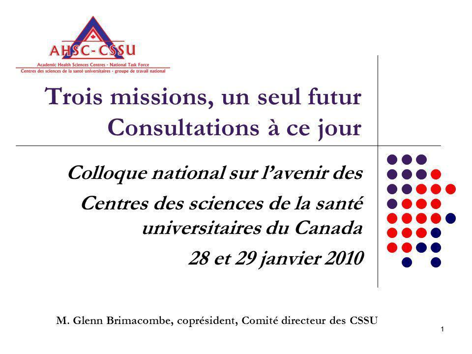 11 Trois missions, un seul futur Consultations à ce jour Colloque national sur lavenir des Centres des sciences de la santé universitaires du Canada 28 et 29 janvier 2010 M.