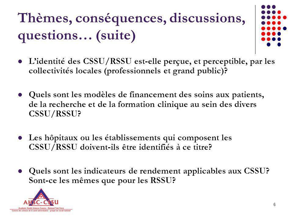 7 Thèmes, conséquences, discussions, questions… (suite) Les CSSU/RSSU constituent-ils des ressources nationales.
