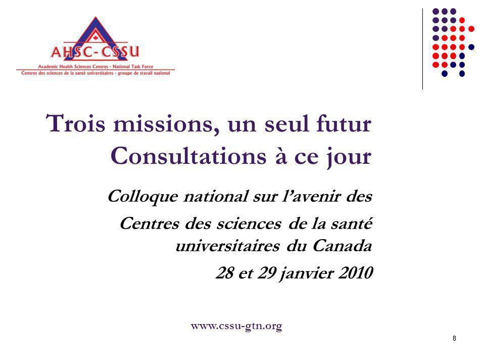 88 Trois missions, un seul futur Consultations à ce jour Colloque national sur lavenir des Centres des sciences de la santé universitaires du Canada 28 et 29 janvier 2010 www.cssu-gtn.org
