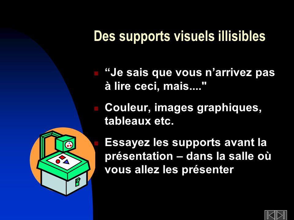 Des supports visuels illisibles Je sais que vous narrivez pas à lire ceci, mais.... Couleur, images graphiques, tableaux etc.