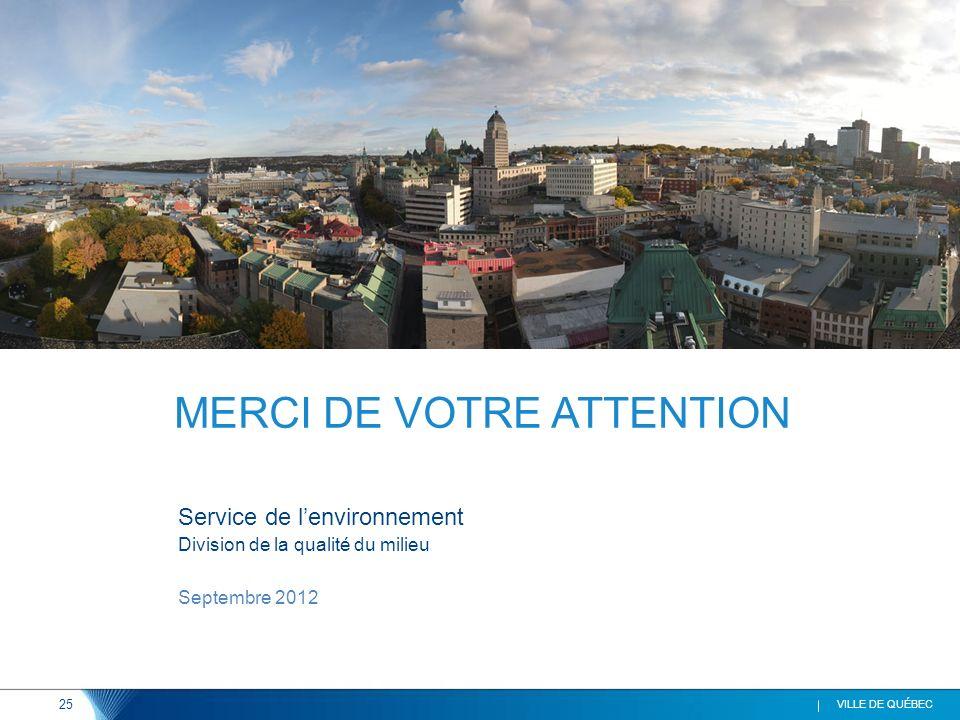 25 VILLE DE QUÉBEC Service de lenvironnement Division de la qualité du milieu Septembre 2012 MERCI DE VOTRE ATTENTION