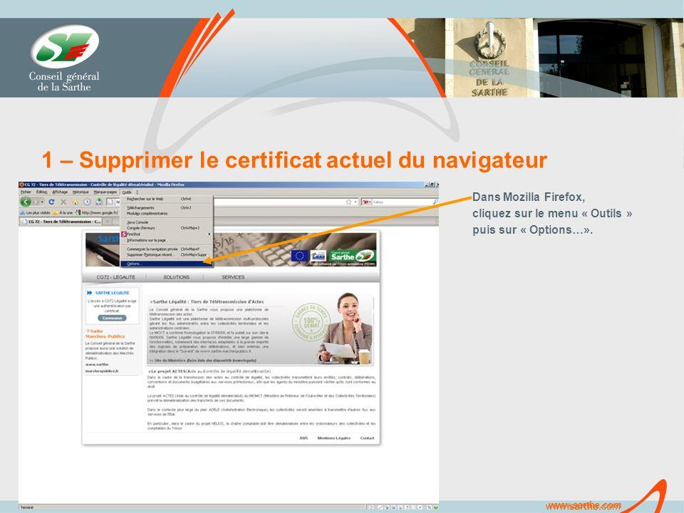 www.sarthe.com 1 – Supprimer le certificat actuel du navigateur Dans Mozilla Firefox, cliquez sur le menu « Outils » puis sur « Options…».