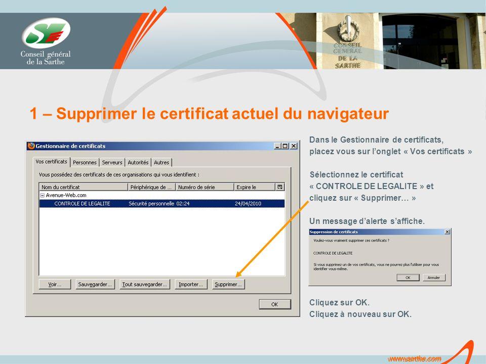 www.sarthe.com 1 – Supprimer le certificat actuel du navigateur Dans le Gestionnaire de certificats, placez vous sur longlet « Vos certificats » Sélectionnez le certificat « CONTROLE DE LEGALITE » et cliquez sur « Supprimer… » Un message dalerte saffiche.