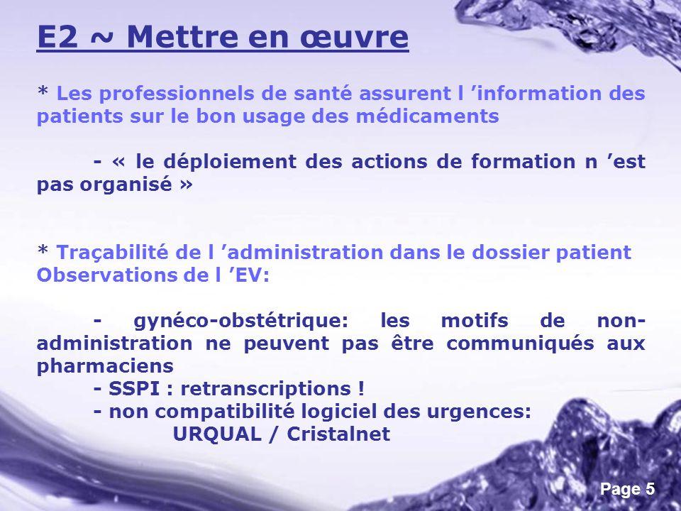 Page 5 E2 ~ Mettre en œuvre * Les professionnels de santé assurent l information des patients sur le bon usage des médicaments - « le déploiement des