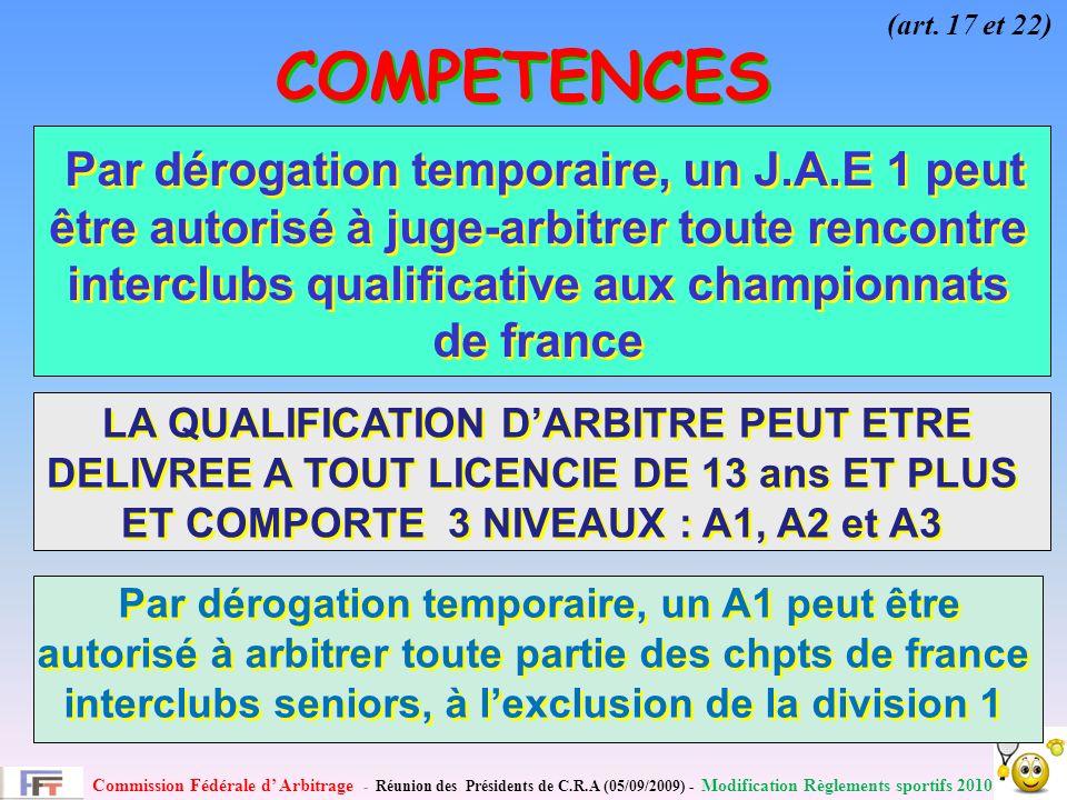 Commission Fédérale d Arbitrage - Réunion des Présidents de C.R.A (05/09/2009) - Modification Règlements sportifs 2010 COMPETENCES (art.