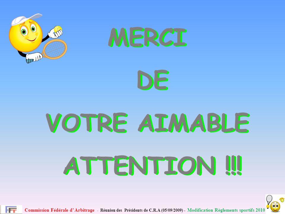 Commission Fédérale d Arbitrage - Réunion des Présidents de C.R.A (05/09/2009) - Modification Règlements sportifs 2010 MERCI DE VOTRE AIMABLE ATTENTION !!.