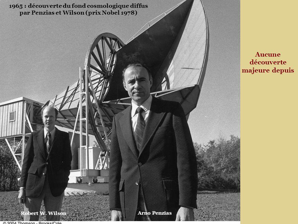 1965 : découverte du fond cosmologique diffus par Penzias et Wilson (prix Nobel 1978) Aucune découverte majeure depuis Arno Penzias Robert W.