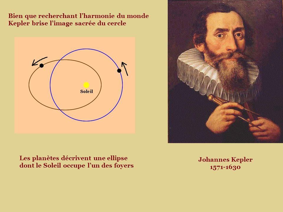 Johannes Kepler 1571-1630 Bien que recherchant lharmonie du monde Kepler brise limage sacrée du cercle Les planètes décrivent une ellipse dont le Soleil occupe lun des foyers