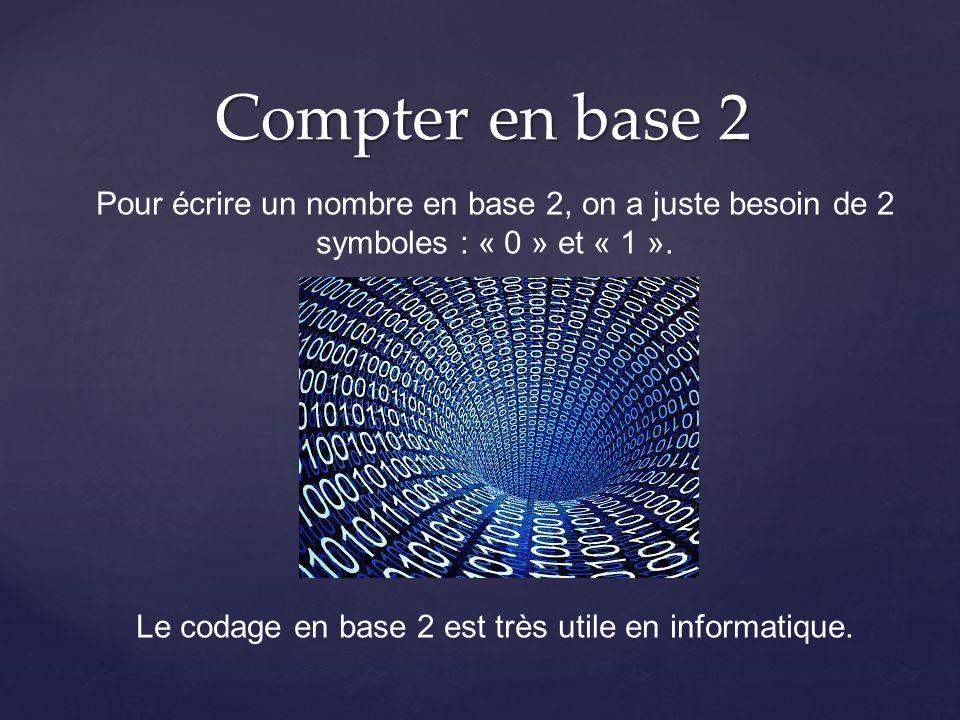Compter en base 2 Pour écrire un nombre en base 2, on a juste besoin de 2 symboles : « 0 » et « 1 ». Le codage en base 2 est très utile en informatiqu