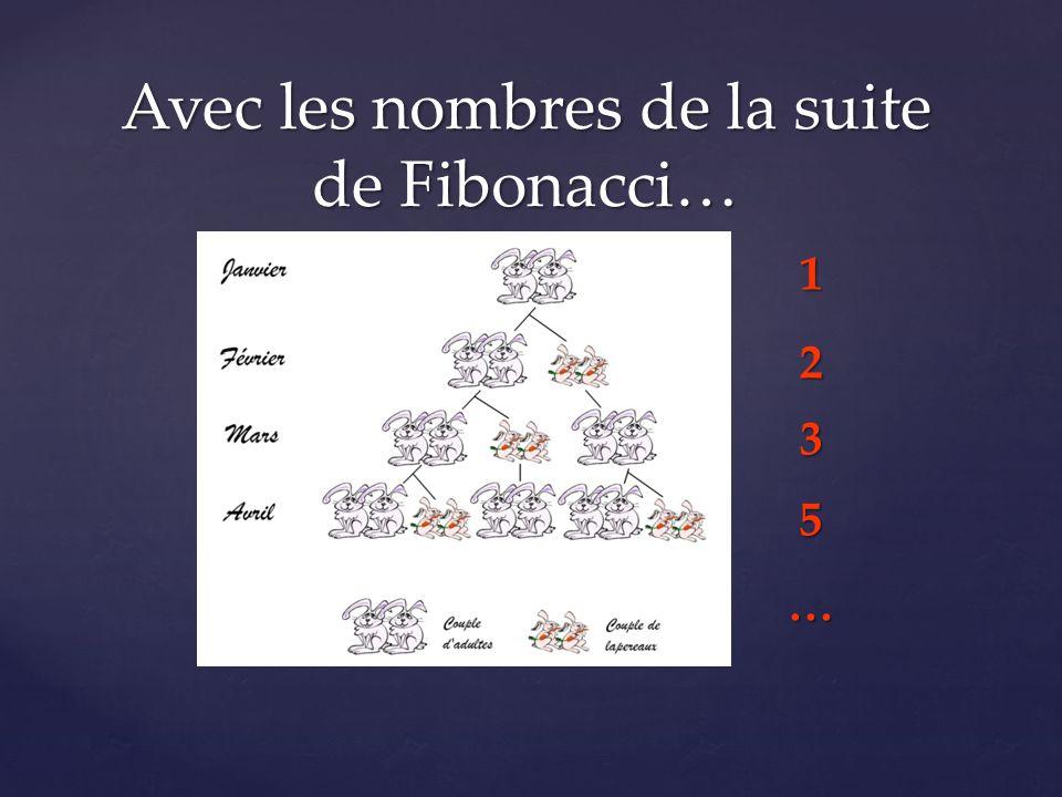 Avec les nombres de la suite de Fibonacci… 1235…