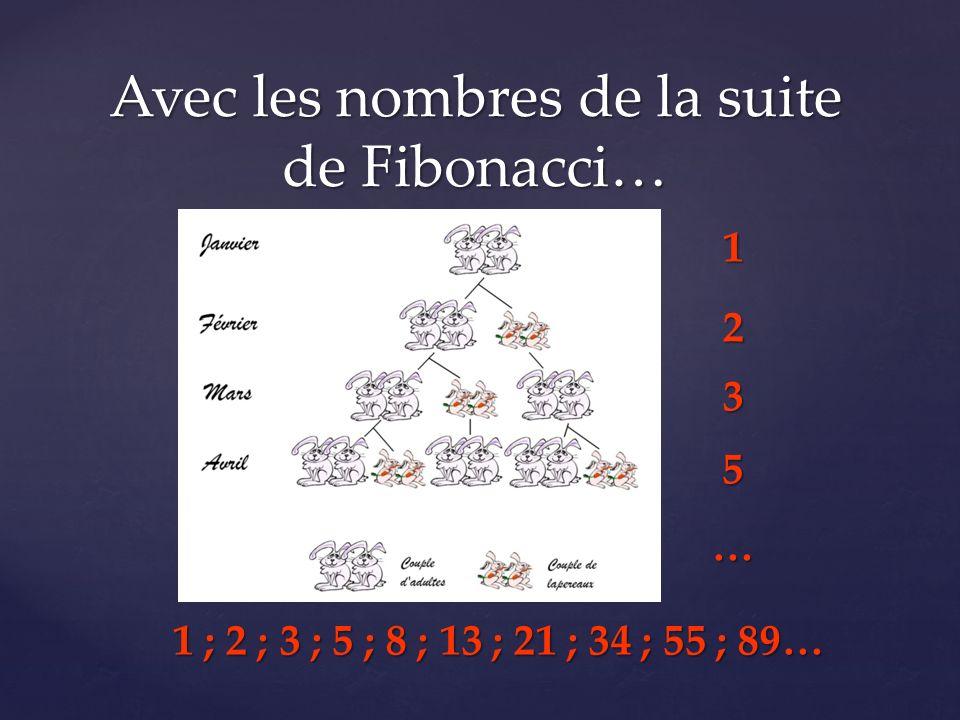 1235… 1 ; 2 ; 3 ; 5 ; 8 ; 13 ; 21 ; 34 ; 55 ; 89…