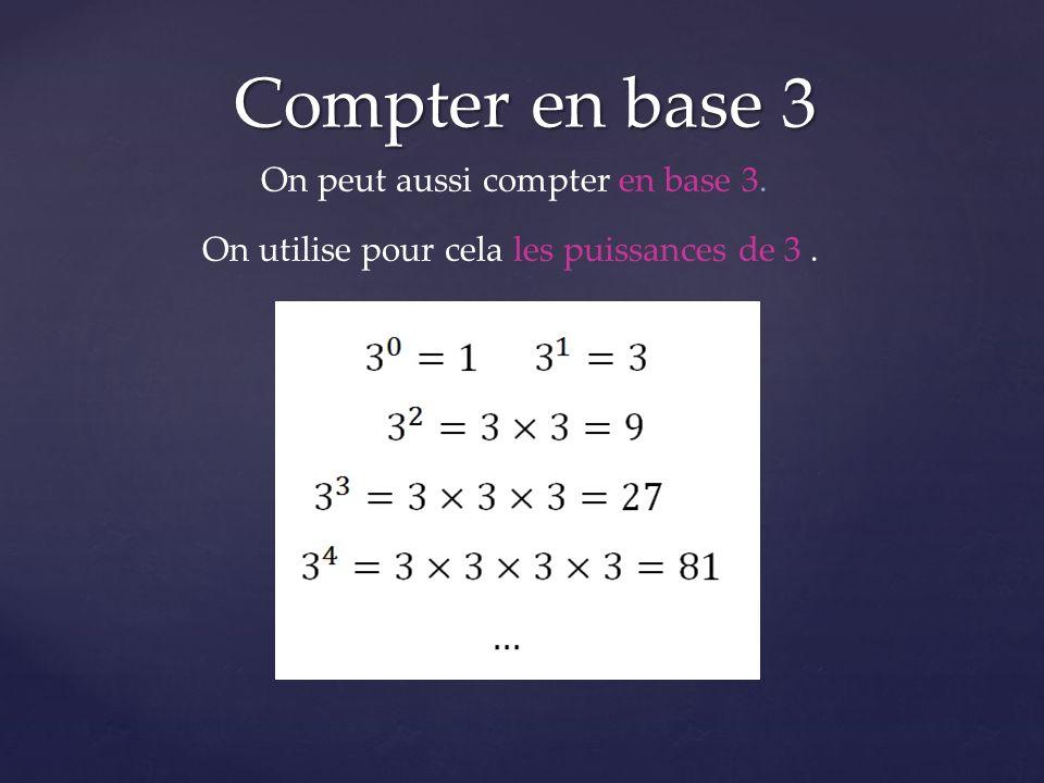Compter en base 3 On peut aussi compter en base 3. On utilise pour cela les puissances de 3.