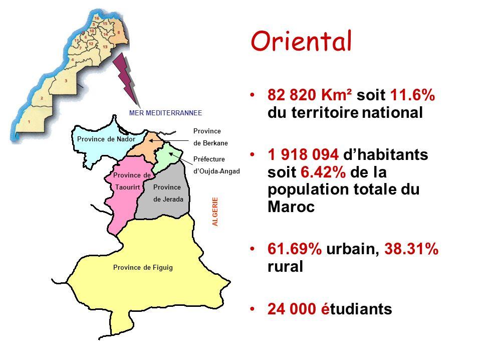 Oriental Province de Figuig Province de Nador Province de Jerada Province de Taourirt Province de Berkane Préfecture dOujda-Angad MER MEDITERRANNEE AL