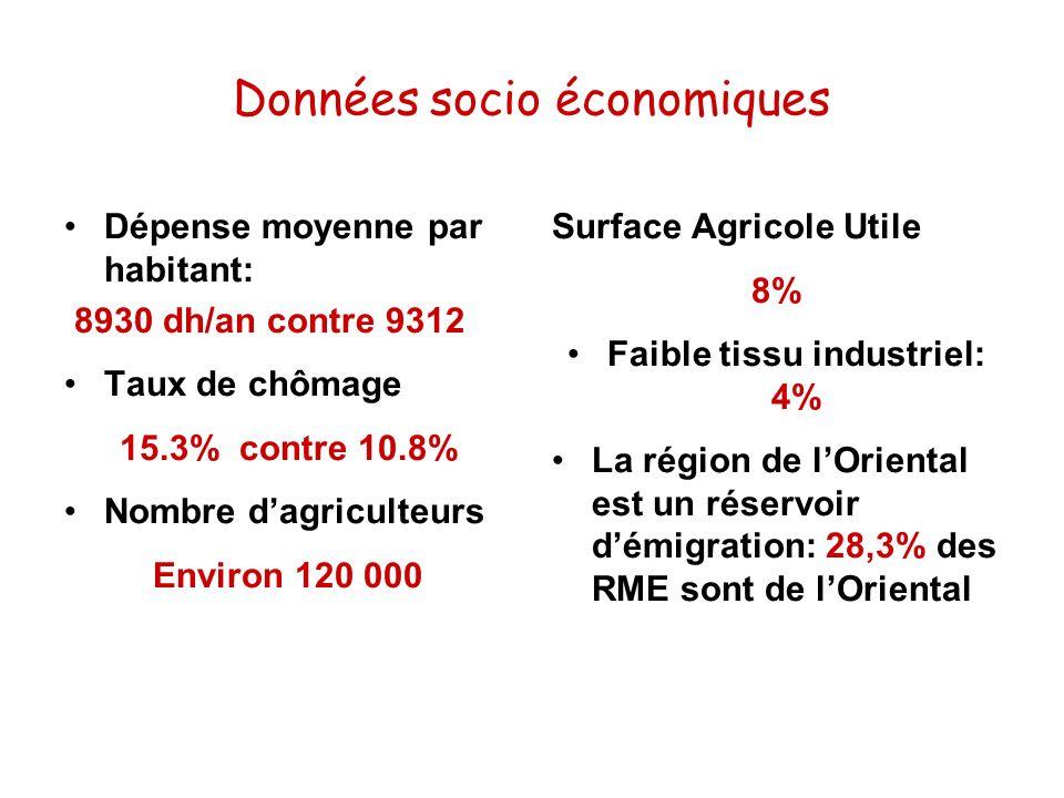 Données socio économiques Dépense moyenne par habitant: 8930 dh/an contre 9312 Taux de chômage 15.3% contre 10.8% Nombre dagriculteurs Environ 120 000
