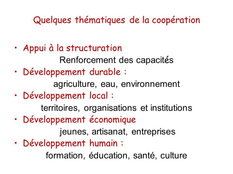 Quelques thématiques de la coopération Appui à la structuration Renforcement des capacit é s Développement durable : agriculture, eau, environnement D