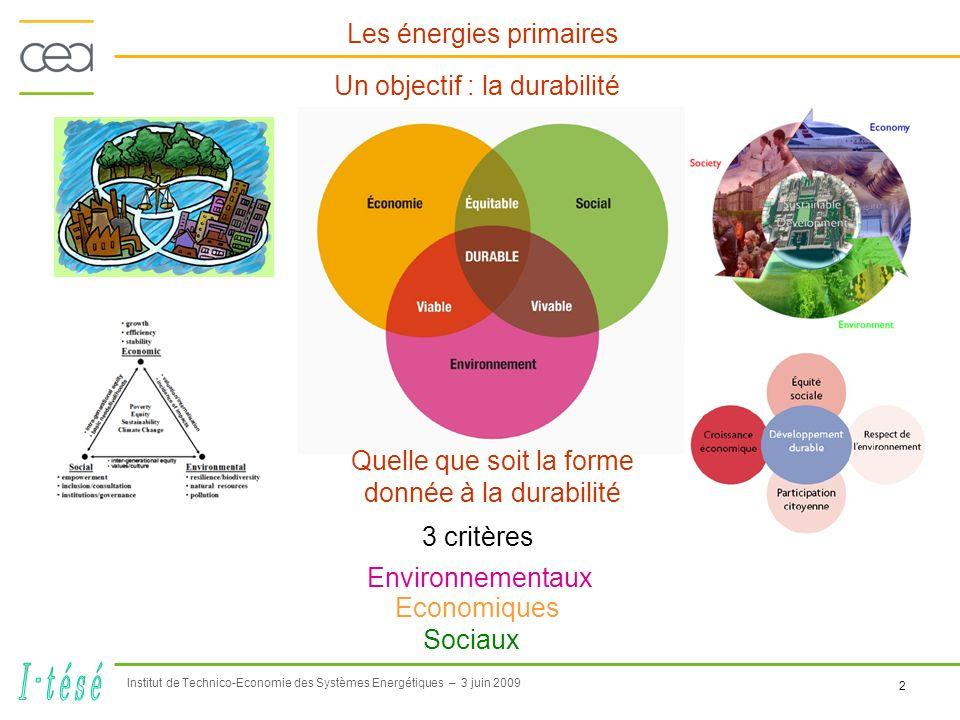 Institut de Technico-Economie des Systèmes Energétiques – 3 juin 2009 2 Un objectif : la durabilité Les énergies primaires Quelle que soit la forme donnée à la durabilité Environnementaux Economiques Sociaux 3 critères