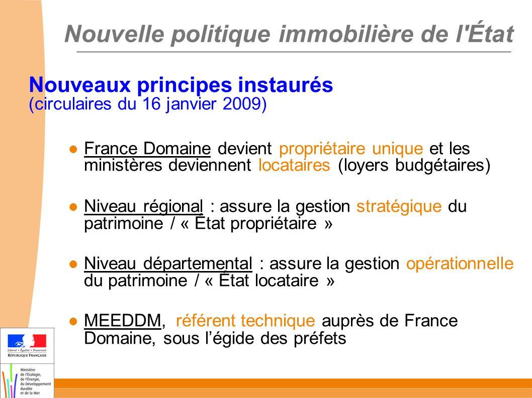 Nouvelle politique immobilière de l'État Nouveaux principes instaurés (circulaires du 16 janvier 2009) France Domaine devient propriétaire unique et l