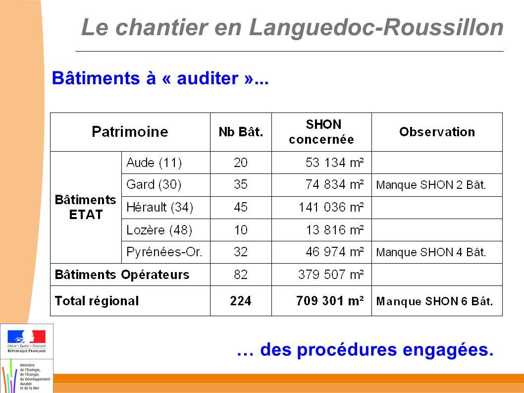 Le chantier en Languedoc-Roussillon Bâtiments à « auditer »... … des procédures engagées.