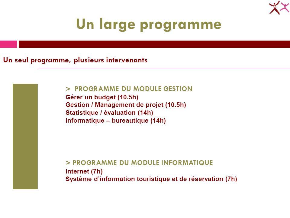 > PROGRAMME DU MODULE GESTION Gérer un budget (10.5h) Gestion / Management de projet (10.5h) Statistique / évaluation (14h) Informatique – bureautique (14h) > PROGRAMME DU MODULE INFORMATIQUE Internet (7h) Système dinformation touristique et de réservation (7h) Un large programme Un seul programme, plusieurs intervenants