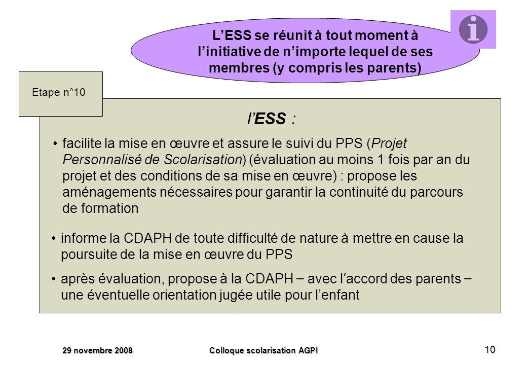 29 novembre 2008 Colloque scolarisation AGPI 10 LESS se réunit à tout moment à linitiative de nimporte lequel de ses membres (y compris les parents) lESS : Etape n°10 informe la CDAPH de toute difficulté de nature à mettre en cause la poursuite de la mise en œuvre du PPS après évaluation, propose à la CDAPH – avec l accord des parents – une éventuelle orientation jugée utile pour lenfant facilite la mise en œuvre et assure le suivi du PPS (Projet Personnalisé de Scolarisation) (évaluation au moins 1 fois par an du projet et des conditions de sa mise en œuvre) : propose les aménagements nécessaires pour garantir la continuité du parcours de formation