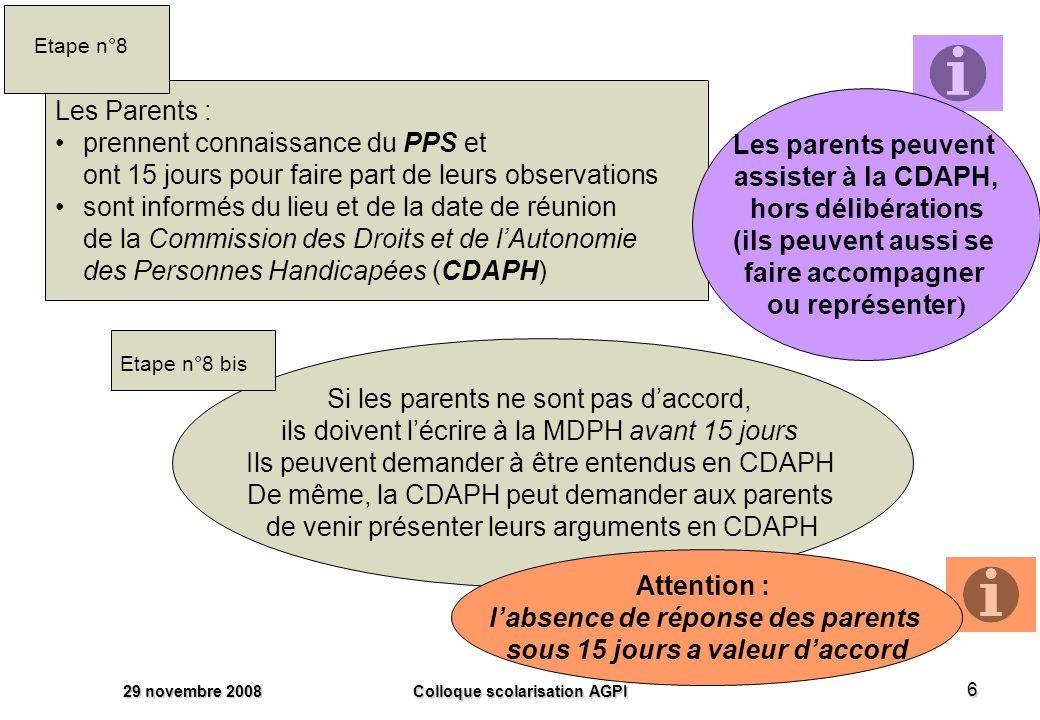 29 novembre 2008 Colloque scolarisation AGPI 6 Les Parents : prennent connaissance du PPS et ont 15 jours pour faire part de leurs observations sont informés du lieu et de la date de réunion de la Commission des Droits et de lAutonomie des Personnes Handicapées (CDAPH) Etape n°8 Si les parents ne sont pas daccord, ils doivent lécrire à la MDPH avant 15 jours Ils peuvent demander à être entendus en CDAPH De même, la CDAPH peut demander aux parents de venir présenter leurs arguments en CDAPH Etape n°8 bis Les parents peuvent assister à la CDAPH, hors délibérations (ils peuvent aussi se faire accompagner ou représenter ) Attention : labsence de réponse des parents sous 15 jours a valeur daccord