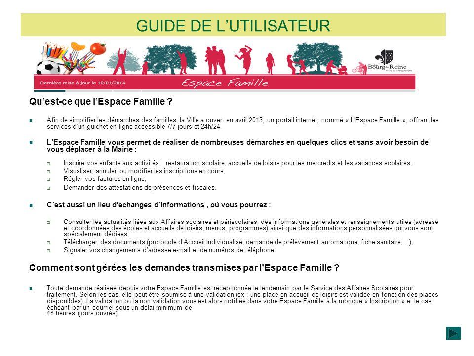 GUIDE DE LUTILISATEUR Quest-ce que lEspace Famille ? Afin de simplifier les démarches des familles, la Ville a ouvert en avril 2013, un portail intern
