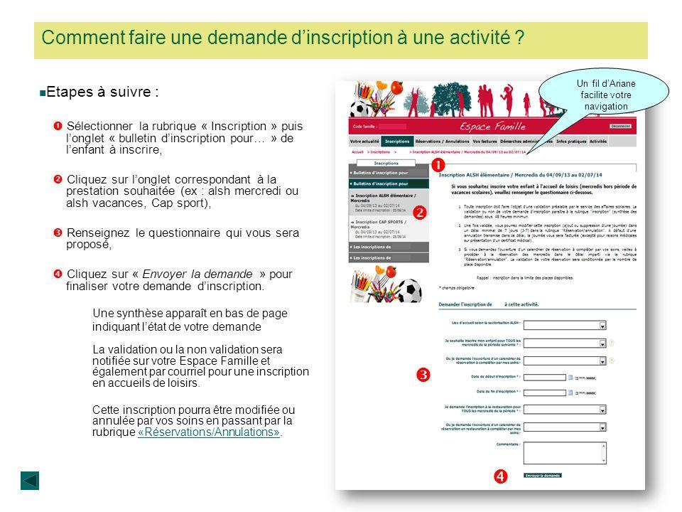 Comment faire une demande dinscription à une activité ? Etapes à suivre : Sélectionner la rubrique « Inscription » puis longlet « bulletin dinscriptio