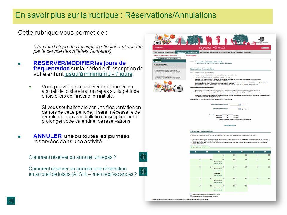 Comment visualiser vos réservations et les jours de présences dans une activité (restauration scolaire/alsh) .