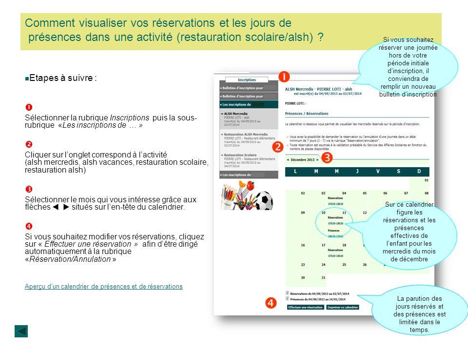 Comment visualiser vos réservations et les jours de présences dans une activité (restauration scolaire/alsh) ? Etapes à suivre : Sélectionner la rubri