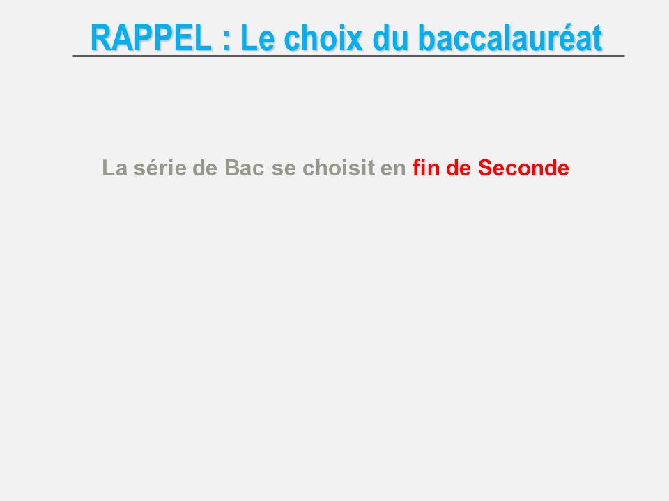 RAPPEL : Le choix du baccalauréat La série de Bac se choisit en fin de Seconde