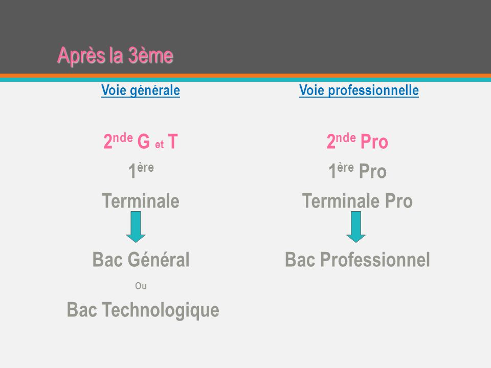 Après la 3ème Voie professionnelle 2 nde Pro 1 ère Pro Terminale Pro Bac Professionnel Voie générale 2 nde G et T 1 ère Terminale Bac Général Ou Bac Technologique