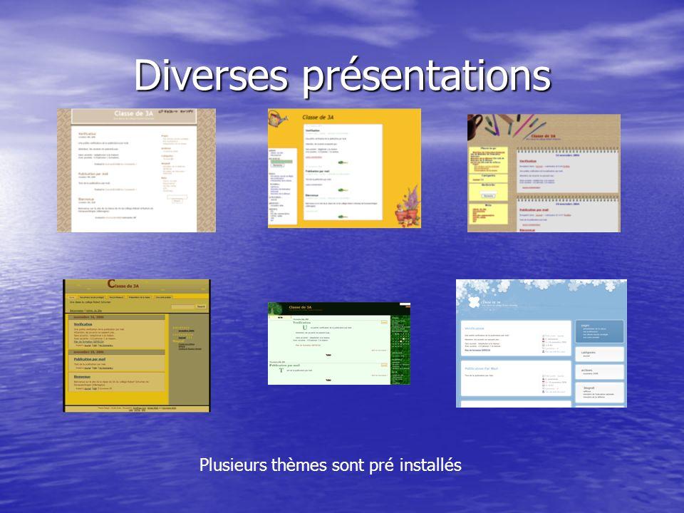 Diverses présentations Plusieurs thèmes sont pré installés