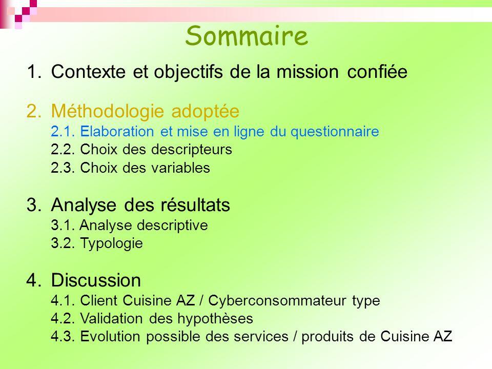 Origines questions : - 2 Recueils déchelles marketing - Questions formulées pour le besoin de létude Environ 120 questions 2.