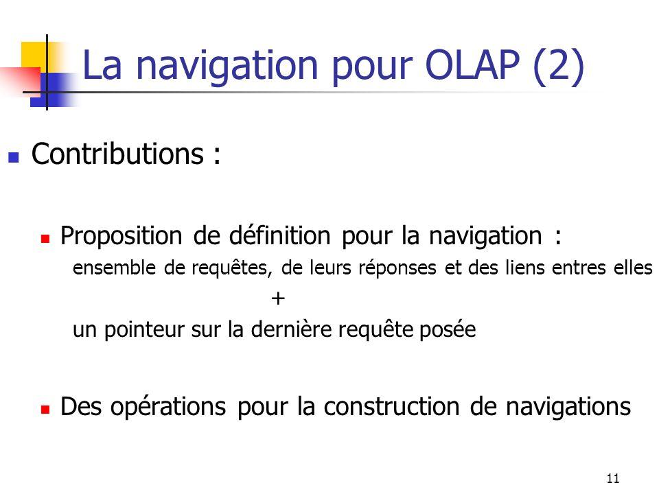 11 La navigation pour OLAP (2) Contributions : Proposition de définition pour la navigation : ensemble de requêtes, de leurs réponses et des liens ent