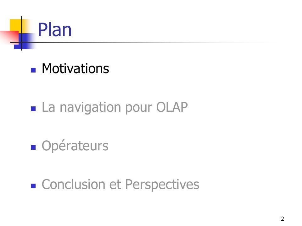 2 Plan Motivations La navigation pour OLAP Opérateurs Conclusion et Perspectives