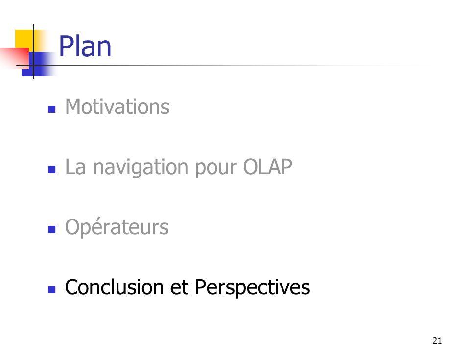 21 Plan Motivations La navigation pour OLAP Opérateurs Conclusion et Perspectives
