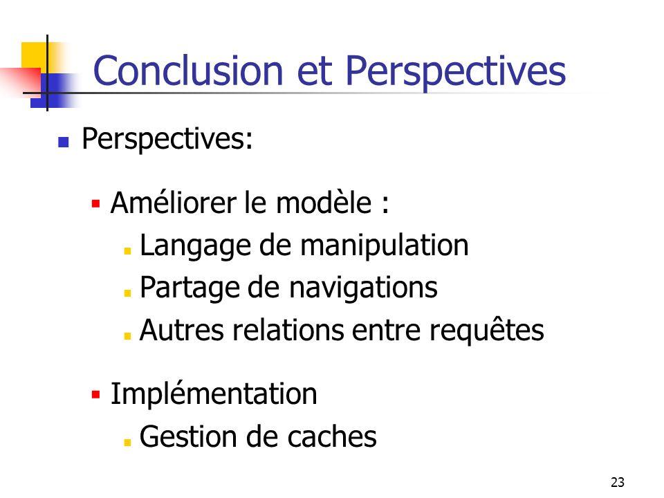 23 Conclusion et Perspectives Perspectives: Améliorer le modèle : Langage de manipulation Partage de navigations Autres relations entre requêtes Implé